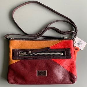 "NWT Fossil ""Dawson"" Colorblock Crossbody Purse"